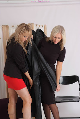 2 Blondes Shopping for Leather Wear