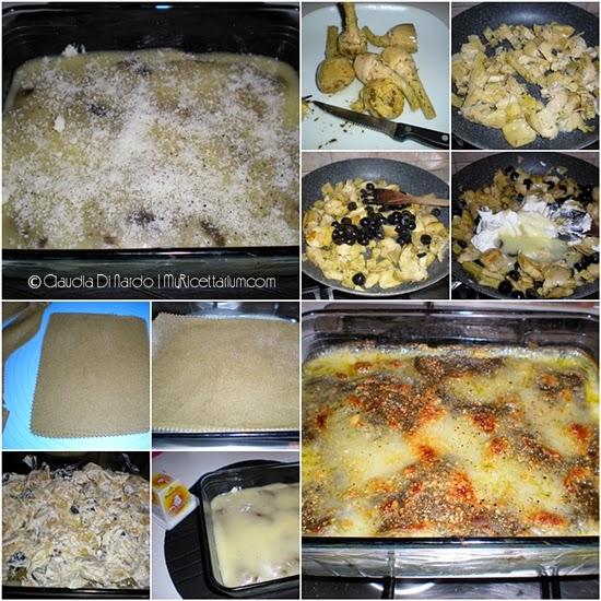 Lasagne con carciofi, olive e formaggio di capra