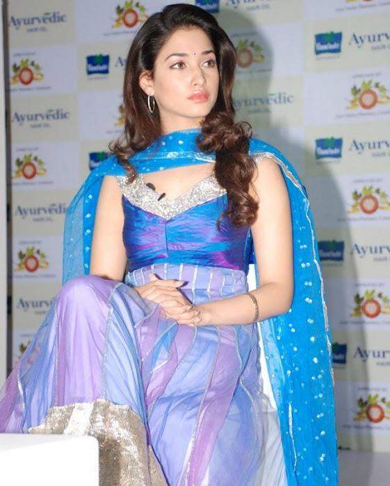 Tamanna Latest Photos In Blue Dress