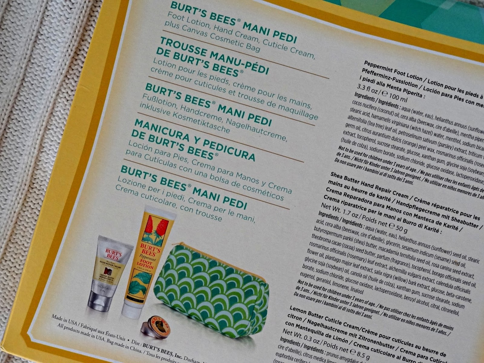 burt's bees mani pedi kit ingredients