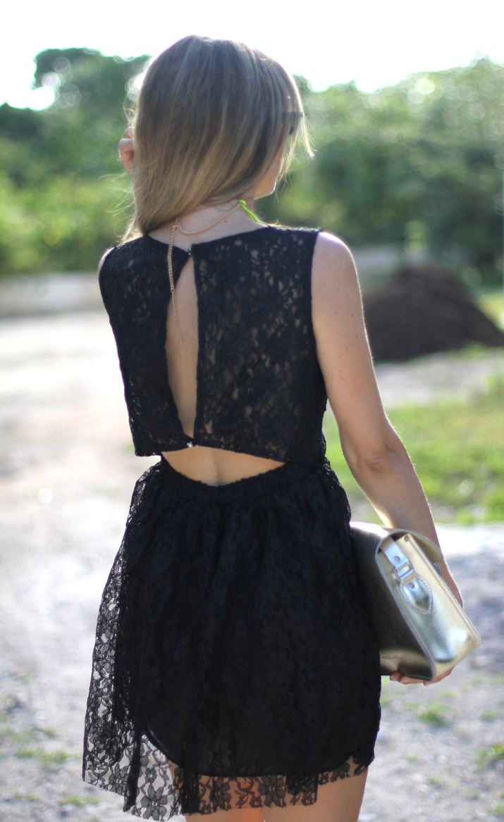 Lace little black dress with sexy open back