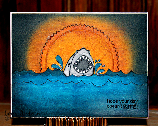 Shark card by Larissa Heskett | Shark Bites Stamp set by Newtons Nook Designs