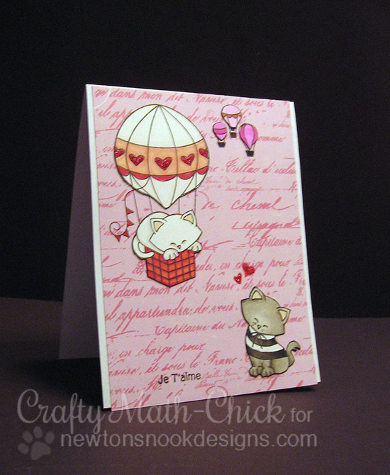 French Kitty in Hot Air Balloon | Card by Crafty Math-Chick | Newton's Nook Designs | Newton Dreams of Paris Stamp Set