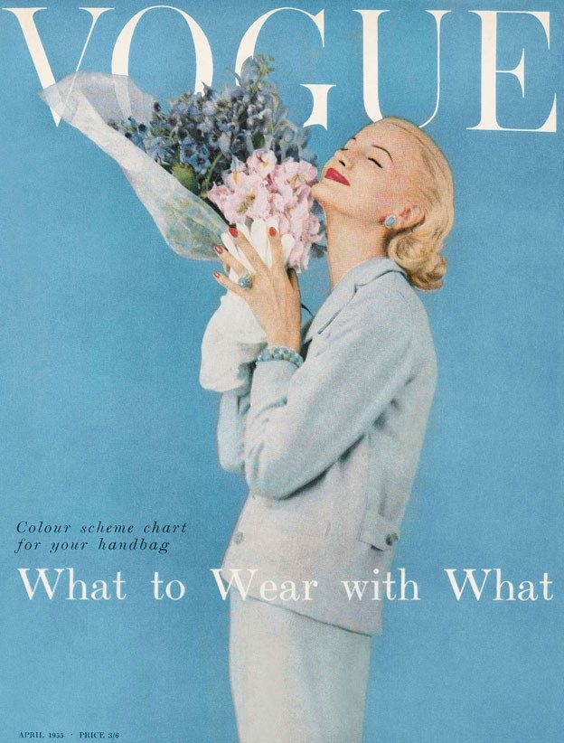 Vogue 1955 #vintage #blue #vogue #1950s #style #fashion #magazine