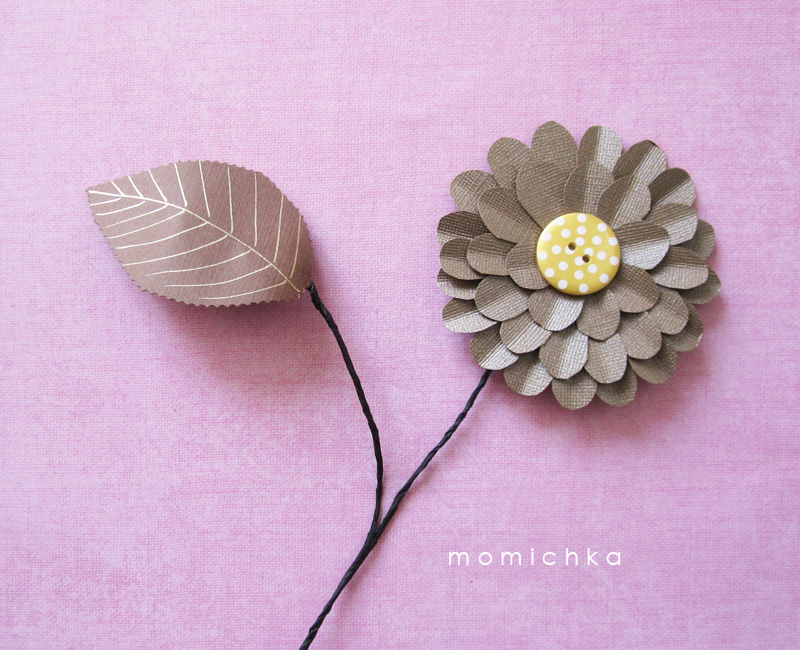 Momichka how to make paper leaves and voila a paper leaf ready to complement a paper flower in this case a bookmark paper flower labels paper flowers tutorial mightylinksfo