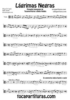 1 Partitura de Viola Lágrimas negras. Partitura de Lágrimas Negraspara Viola by Sheet Music for Viola Black Tears Music Scores
