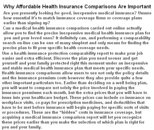 health insurance comparisons