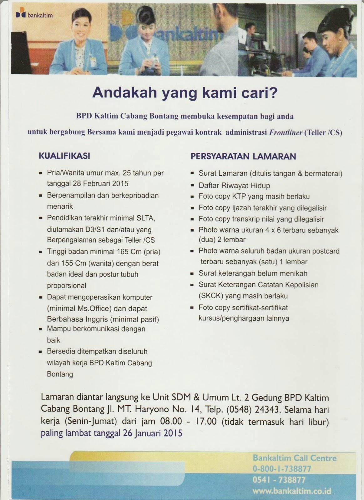 Lowongan Kerja Terbaru Bank BPD Kaltim Cabang Bontang Januari 2015