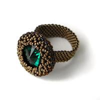 Стильное кольцо с изумрудным кристаллом Swarovski россия крым