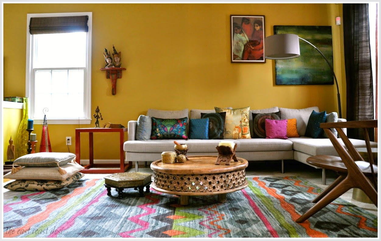 The east coast desi living in color home tour for Indian ethnic living room designs