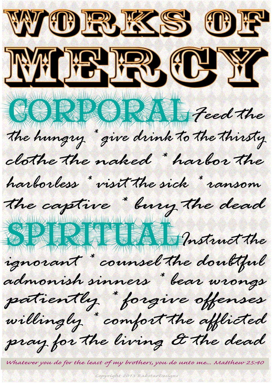 The Pitter Patter Diaries: Works of Mercy