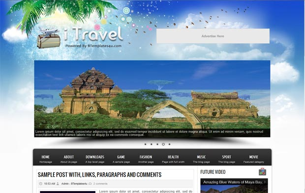 itravel blogger template