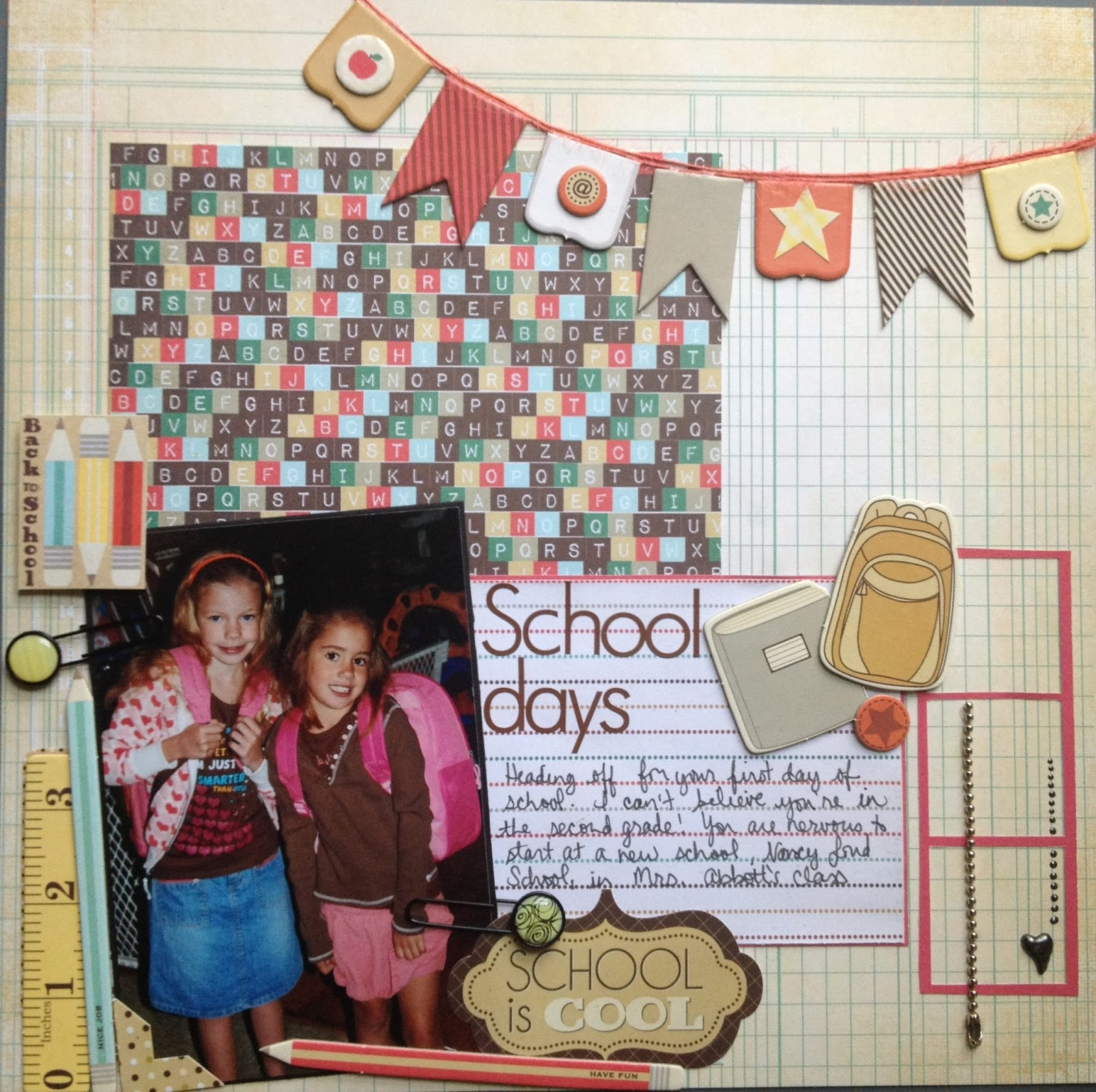 One direction scrapbook ideas -  Old Pic Of The Girls On Their First Day Of School 2nd Grade And Kindergarten I Turned To The Fancypants Off To School Collection For This One