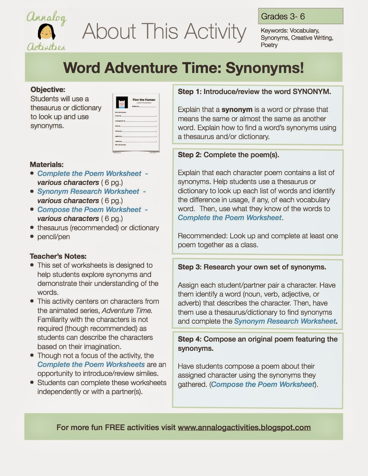 This Weeks Freebie Word Adventure Time Fun with Synonyms and – Using a Thesaurus Worksheet