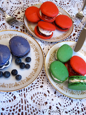 Blueberry Buttercream, Strawberry Jam and Buttercream, and Mint French Macarons with Tried & Twisted blogspot