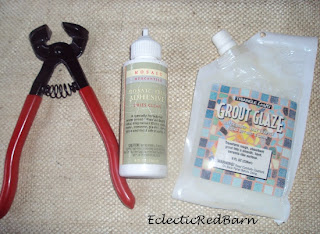 mosaic tools, sealer, grout, snippers