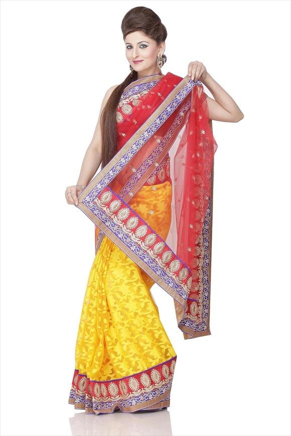 new indian Red Net Saree