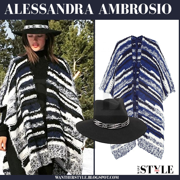 Alessandra Ambrosio in navy and white maje maille knit poncho what she wore fall winter outfit
