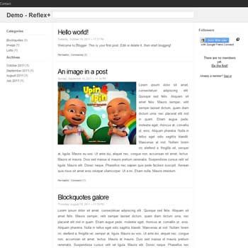 Reflex Plus Blogger Template convert from wordpress theme to blogger. minimalist design blogspot template
