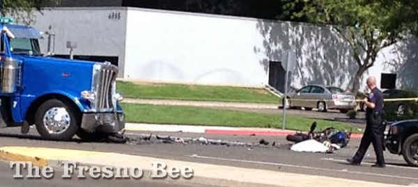 fresno motorcycle big rig crash fatality clinton avenue yosemite airport