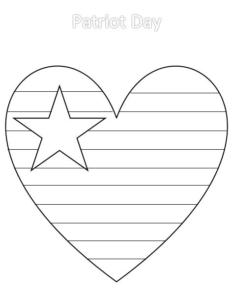 proud to be an american - Heart American Flag Coloring Page