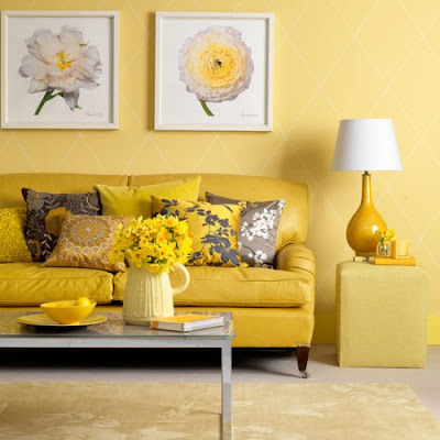 Home quotes theme design yellow and gray color combination Yellow wall living room decor