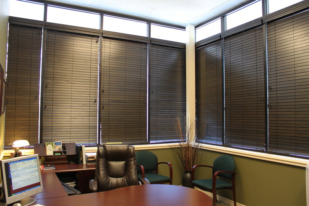 uptown window coverings custom wood blinds an edward jones office