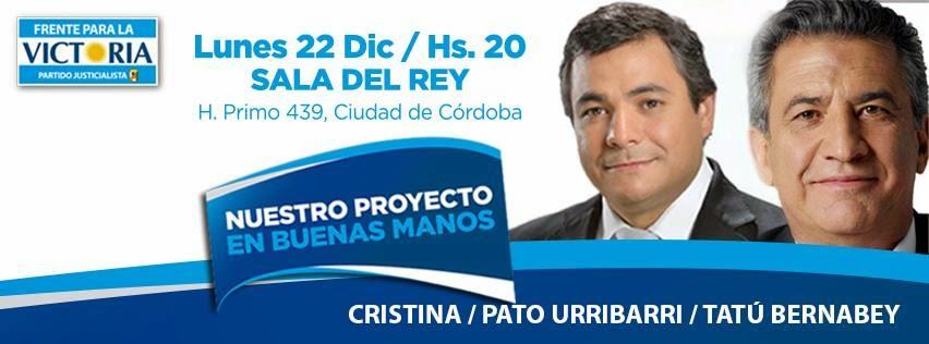 22 de Diciembre, Tatú Bernabey y Urribarri en Córdoba Capital