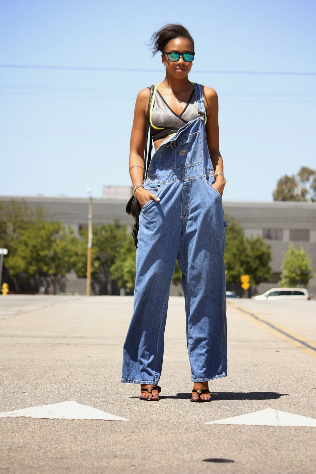 Outfit Details // H&M mens sunglasses, Alexander Wang x H&M sports bra, Oldnavy overalls