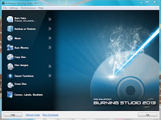 Ashampoo burning studio 2013 main screen Shot