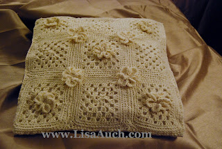 easy crochet pillow pattern-crochet pillow with flowers-