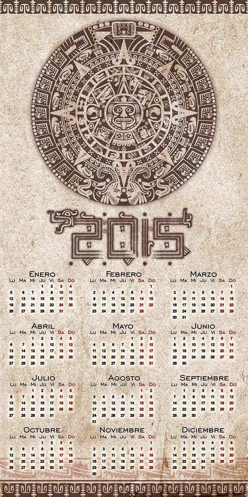 Calendario Azteca sobre pergamino con calendario 2015