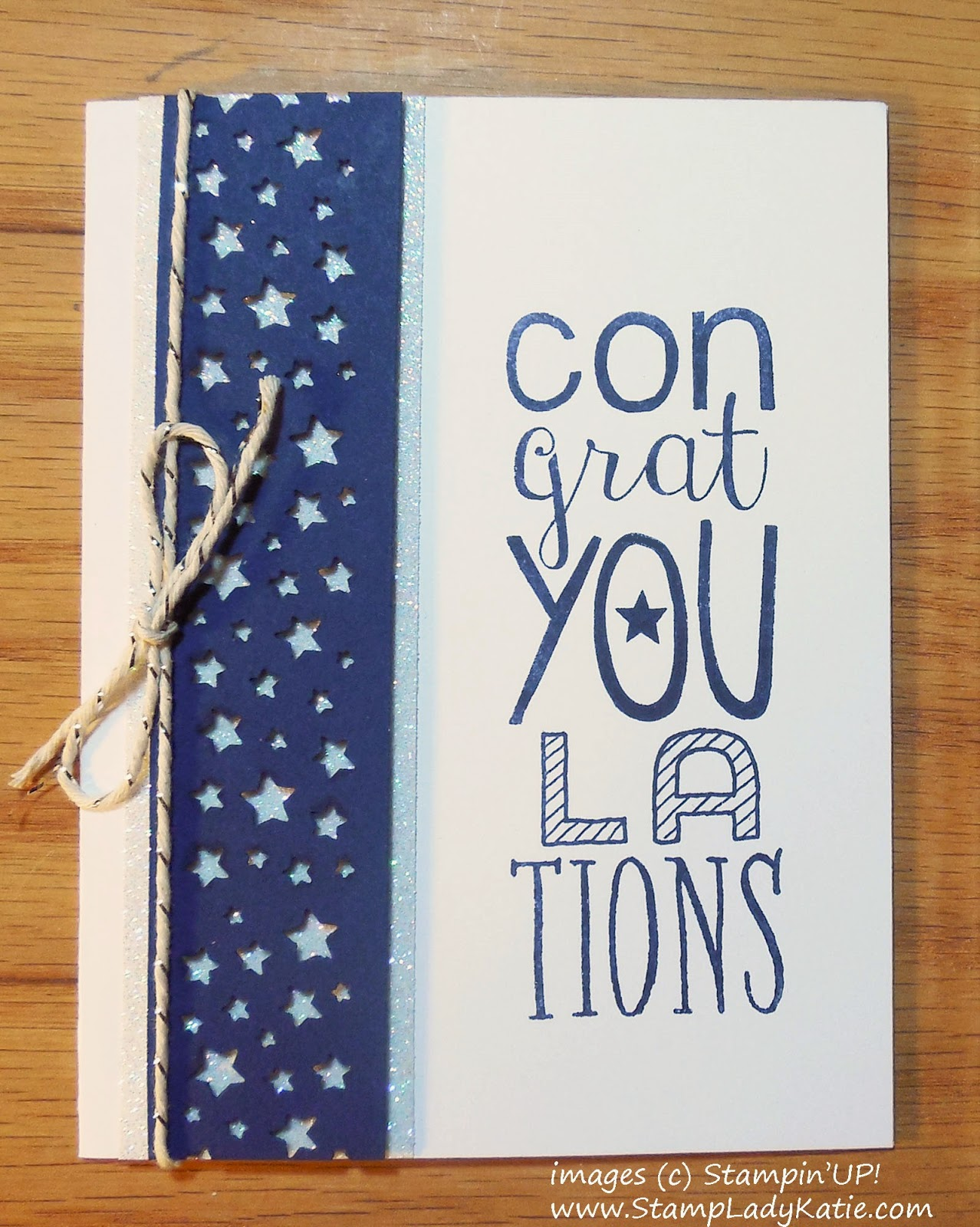 Congratulations Card made with Stampin'UP!'s Confetti Stars Border Punch and Bravo Stamp Set