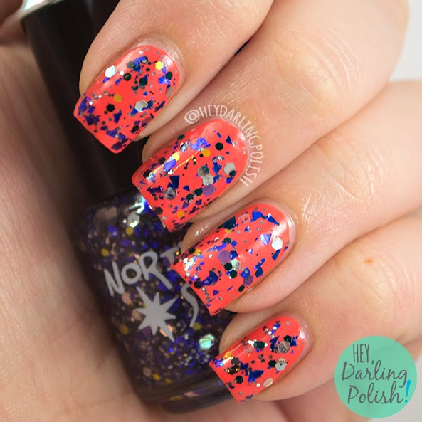 lenore, orange, nails, nail polish, polish, indie, indie polish, northern star polish, glitter, swatch, hey darling polish,