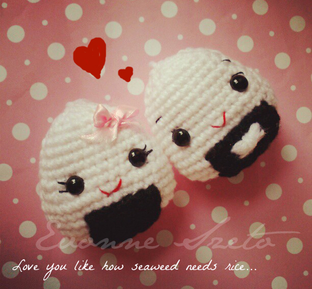 Onigiri Couple Amigurumi Free Crochet Pattern : sweet from the heart