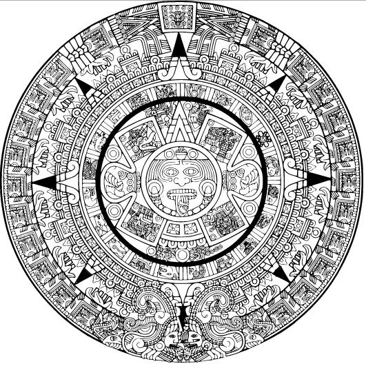 Contemporáneo Colorear Calendario Azteca Molde - Páginas Para ...