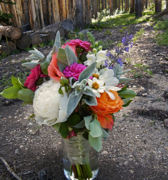 Rocky Mountain Wedding Flowers Wildflower Centerpieces at the High