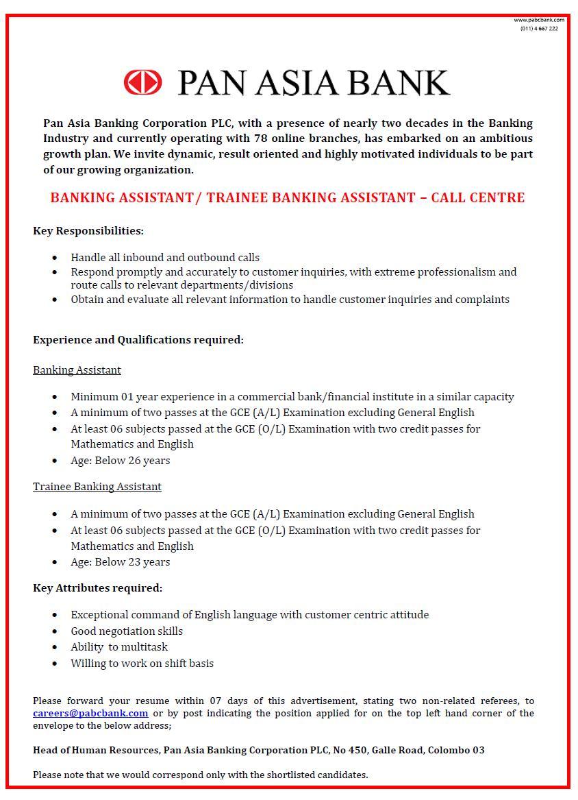 My lk jobs Pan Asia Vacancies 2015