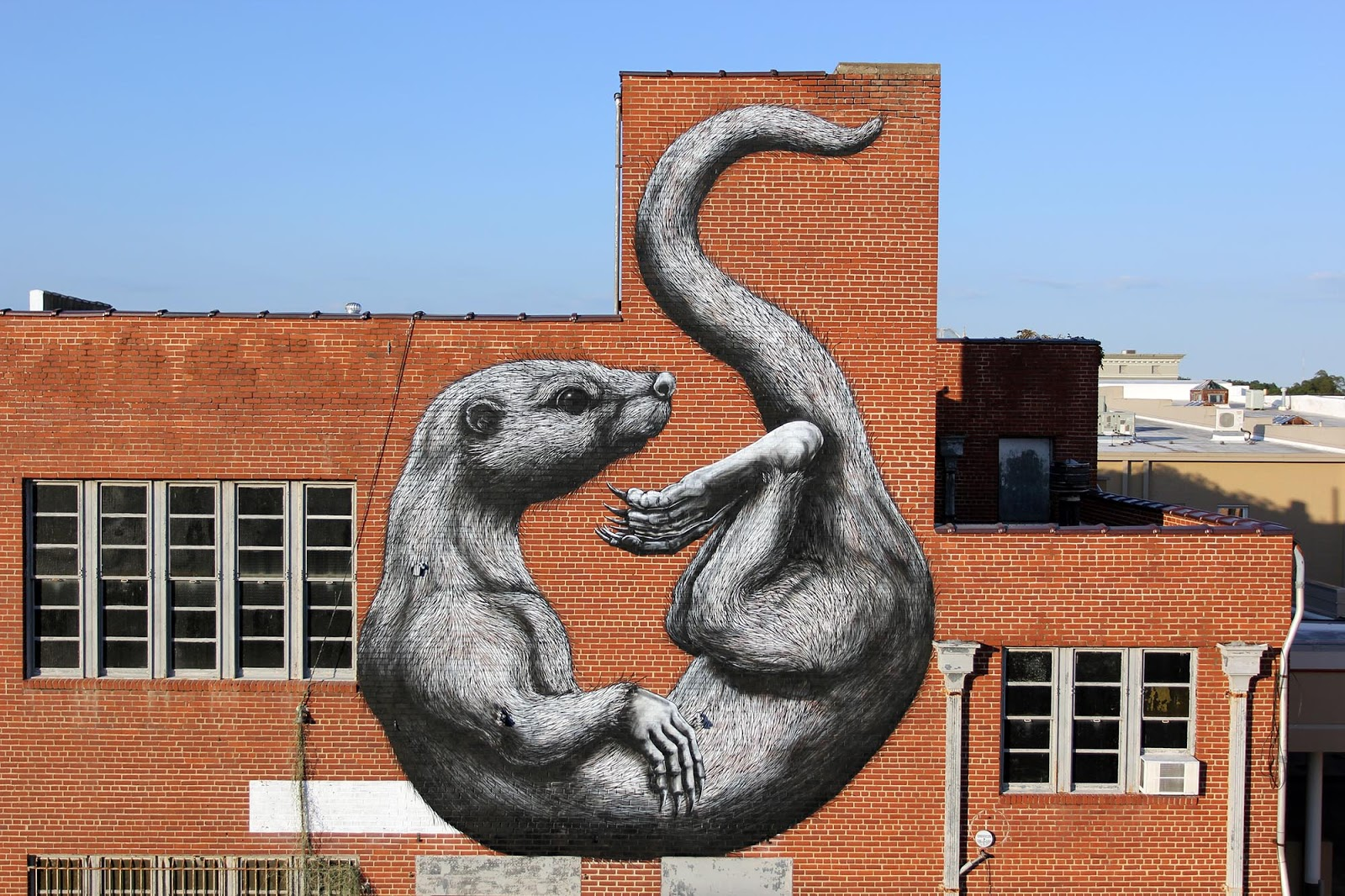unexpected 15 the otter a new mural by roa in fort smith