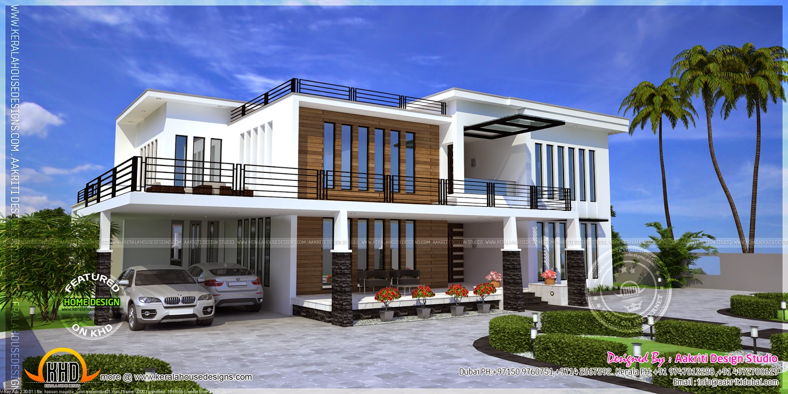 Contemporary house view kerala home design and floor plans for House design outside view