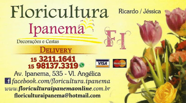 Floricultura Ipanema Avenida Ipanema, 535 Vila Angélica - Sorocaba - SP E-mail: floriculturaipanema@hotmail.com Site: www.floriculturaipanemaonline.com.br tel: (15) 3211-1641 / 98137-3319