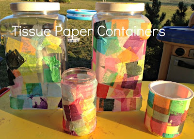 tissue paper, glue, crafts