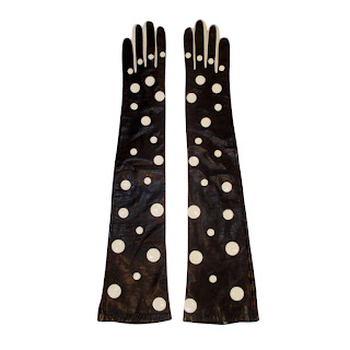Vintage 1980's black leather Pierre Cardin long gloves with white polka dots.