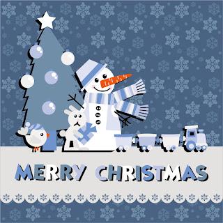 雪だるまのクリスマスカード見本 Christmas notes stickers snowman イラスト素材