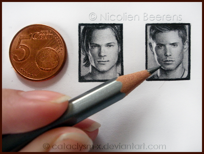 07-Dean-and-Sam-Winchesters-Supernatural-Nicolien-Beerens-Cataclysm-X-Miniature-Celebrity-Portraits-Drawing-www-designstack-co