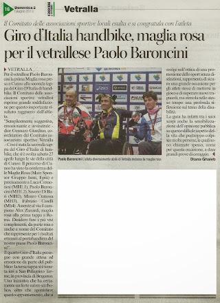 Handbike: prima maglia rosa per il vetrallese Paolo Baroncini