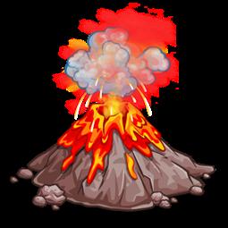 Volcano spewing molten lava