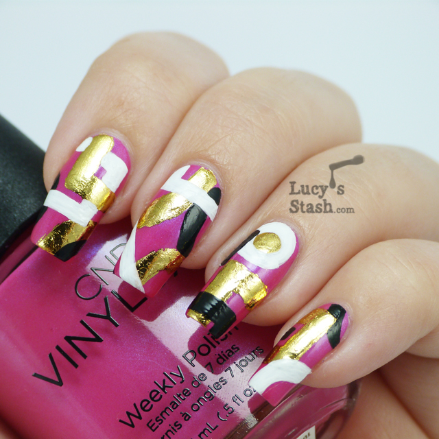 Abstract Nail Art design over CND Vinylux Tutti Frutti - Lucy's Stash