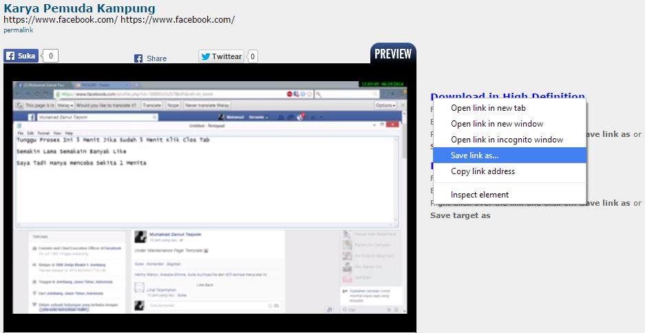 Cara Download Video Dari Facebook Tanpa Aplikasi Apapun