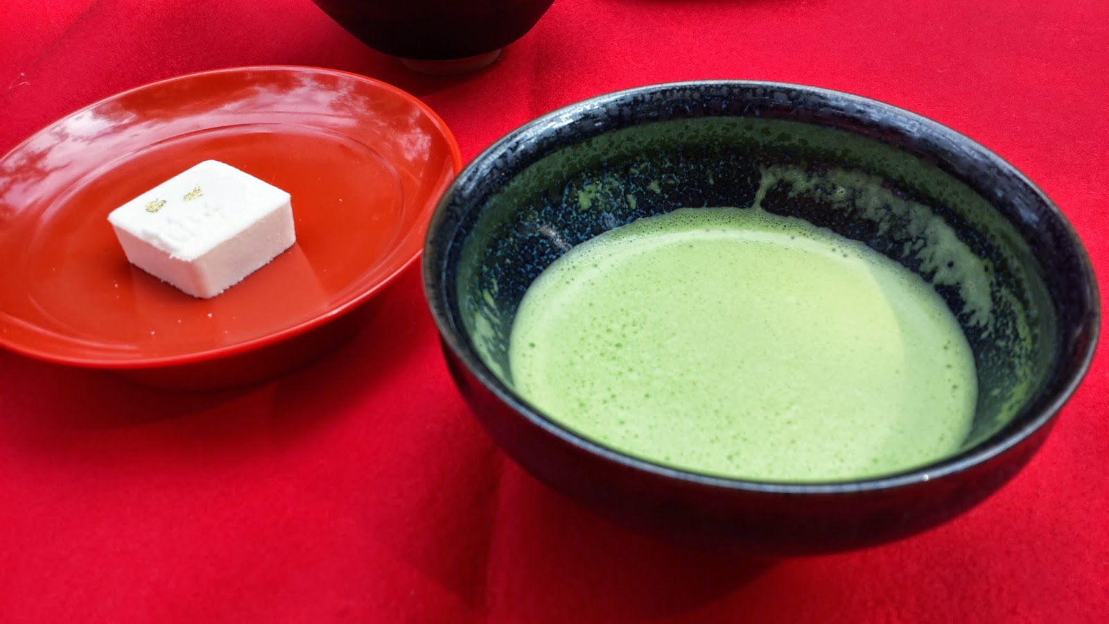 Cold green matcha tea